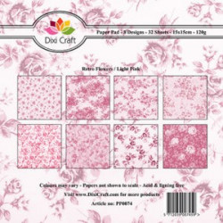 Dixi Craft Papirblok PP0074 Retro Flowers / Light pink