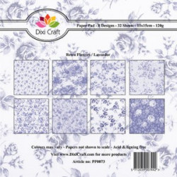 Dixi Craft Papirblok PP0073 Retro Flowers / Lavender